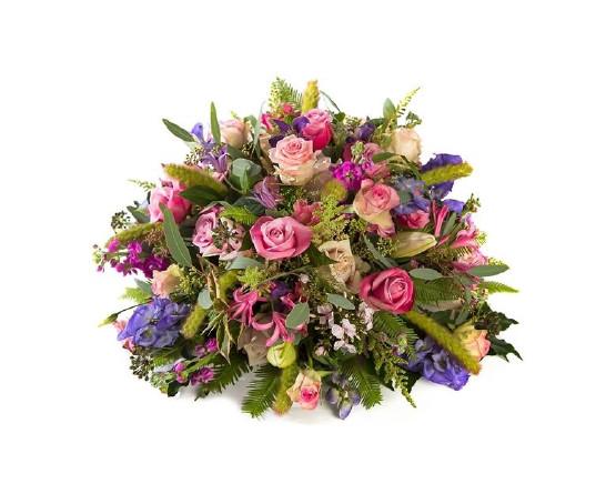 Rouwstuk paars met roze
