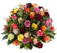 Rouwstuk gekleurde rozen